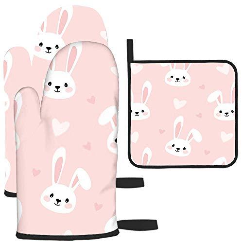 nxnx Conejo de dibujos animados de impresión para los niños textura guante de horno y soporte de olla resistente al calor de cocina para hornear