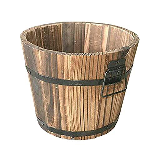 SLDHFE 3 macetas de madera con barril de whisky, macetas rústicas para patio, macetas de jardín de madera redondas, macetas de flores rústicas para plantas decoración de interiores, L