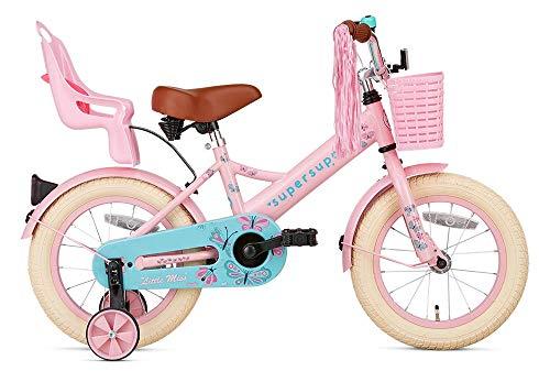 SuperSuper Little Miss Kinder Fahrrad für Kinder | Fahrrad Mädchen 14 Zoll ab 3-5 Jahre| Kinderrad met Stützrädern | Rad mit Korb und Puppensitz |Pink