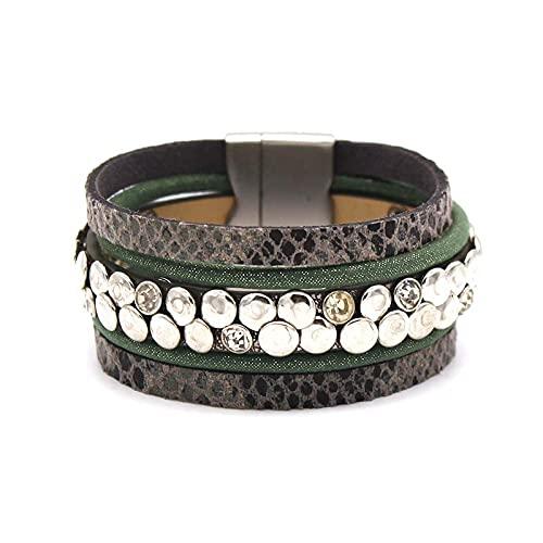 Pulsera de moda étnica retro piel de serpiente estampado de leopardo Gewlery Ins estilo europeo y americano moda
