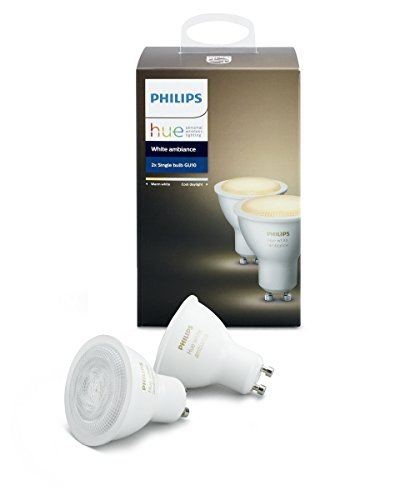 Philips Hue White Ambiance GU10 2-Pack Dimmable LED Smart Spot Light (Hue Hub Required, Works with Alexa, Homekit & Google Assistant), Old Version