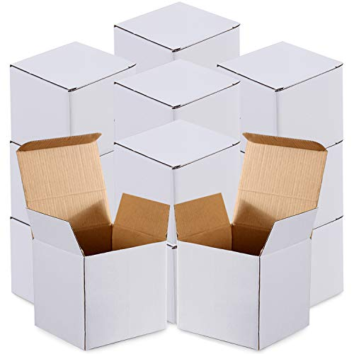 Cardboard Box,25 Pieces White Cardboard Box Kraft Corrugated Small Mailing Boxes Christmas Gift Boxes,White Kraft Paper Present Packaging Box with Lids (5x5x5 Inch)
