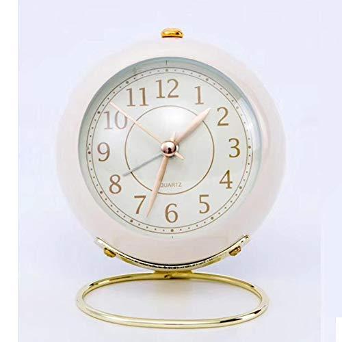 LANGTAO Reloj De Alarma De Metal Retro, 3.5 Pulgadas Redonda De Escritorio, Reloj De Cuarzo, Decoración De Escritorio De Noche Relojes De Noche,Blanco