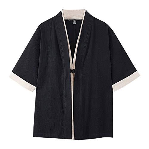 Xmiral Oberteile Tops Herren Kurzarmshirt Einfarbig Patchwork Vintage Sommer T-Shirt Poloshirt Große Größe Sweatshirt Jogger Arbeitskleidung(Schwarz,5XL)