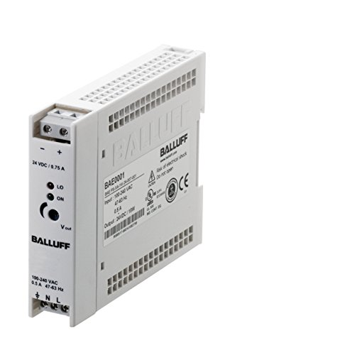 Balluff BAE0036, Power Supply, Single-Phase, Switched, 100#240 VAC, 12 VDC, 1.5A, DIN-Rail, IP20