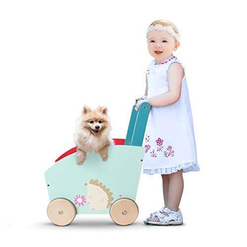 labebe - Lauflernwagen Holz Mädchen, Gehhilfe Baby Lauflernhilfe, Laufwagen Holz für Babys, Holz Playland Lauflernwagen für Junge, 2in1 Lauflernhilfe Baby, Spiel und Laufwagen ab 1 Jahr Kinder - Igel