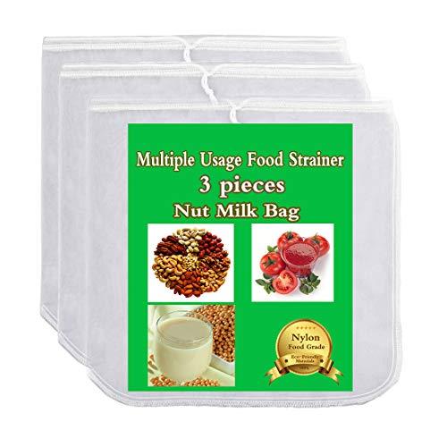 20 x 30 cm sac r/éutilisable pour passoire lait th/é noix 200 sac filtre /à lait v/ég/étal filtre en maille de nylon Matefielduk Sac de lait de noix