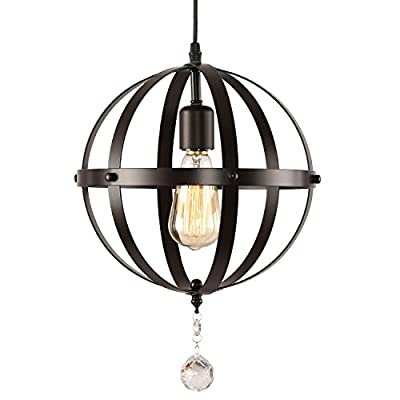 HMVPL Rustic Globe 3 Lights Pendant, Oil Rubbed Bronze Finish Vintage Metal Orb Chandelier Ceiling Light Fixture