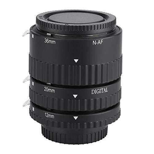 Qiilu Anillo Adaptador de Lente, Tubo de Lente de extensión Macro de Enfoque automático 12 mm + 20 mm + 36 mm para cámaras réflex Digitales Nikon F Mount(N-AF-B)