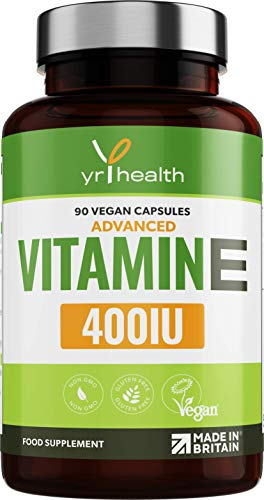 Vitamin E Capsules 400iu - High Strength Natural Vitamin E Supplement, D-Alpha Tocopherol - Protects Cells from Oxidative Stress - 90 Vegan Capsules not Tablets - Made in The UK by YrHealth