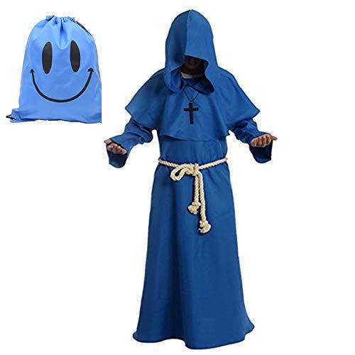 Disfraz de Monje Sacerdote Túnica Medieval Renacimiento Traje con Cruz para Halloween Carnaval (M, Azul)