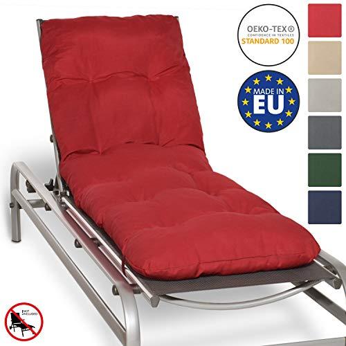 Beautissu Auflage für Garten-Liege Flair RL 190x60x8cm Sitz-Polster für Sonnenliege Schaumflocken-Füllung Rot erhältlich