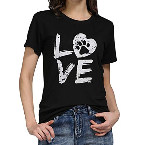 BHYDRY Camiseta Suelta de Manga Corta con Carta de Amor para Mujer