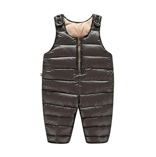 YOUJIA Enfant Bébé Salopette - Uni - Pantalon Combinaisons de Neige Manteaux Outerwear (Noir, 80cm)