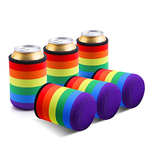 TAGVO Can Sleeves, Insulated Beer Can Sleeve Covers Easy-On Can Cooler Set of 6 - Rainbow Colour, Machine Washable, Durable, Neoprene with Stitched Fabric Edges