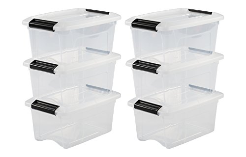 Iris Ohyama, 6er-Set stapelbare Aufbewahrungsboxen mit Klickverschluss - New Top Box NTB-5 - plastik, transparent, 6 x 5 L, L28,5 x B19,5 x H14 cm