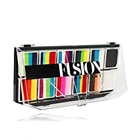 FUSION BODY ART Pro Quality Professional Spectrum Face Painting Palette – Rainbow Explosion | Hypoallergenic Safe & Non-Toxic – Perfect for Full Face Designs and Cheek Art | US FDA and EU compliant