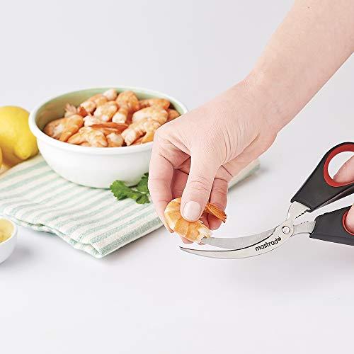 MASTRAD F23900 Ciseaux A Crustacés – Courbée & Dentelées – Epousent Parfaitement La Forme des Crevettes – Décortique Tous Types De Carapaces – Casse Pince Intégré