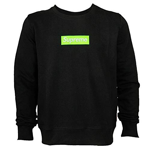 Supreme Italia Herren Logo Patch Sweater Pullover Sweatshirt (L, Black-Green)
