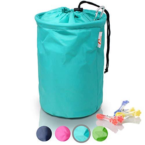Amazy XXL Wäscheklammerbeutel – Extra-robuster Klammerbeutel mit Karabinerhaken zur Aufbewahrung von bis zu 200 Wäscheklammern für drinnen und draußen (Mint | 30 x 20 cm)