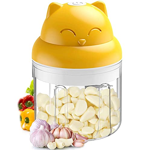 FengJ Electric Mini Food Processor, Mini Blender, Mini Chopper, Food Chopper, Vegetable Chopper, Garlic Chopper, Garlic Mincer, Kitchen Gadgets,Yellow