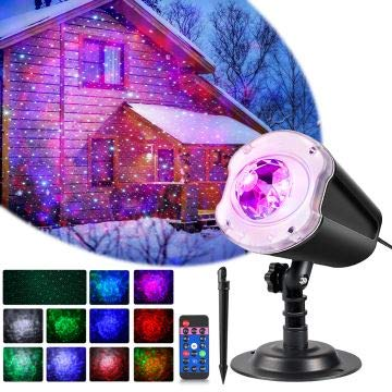 LYRABAY Christmas Outdoor Projector Laser Lights, Meteor Shower with Ocean Wave, LED Light Proejctor for Party, Halloween Landscape Decoration