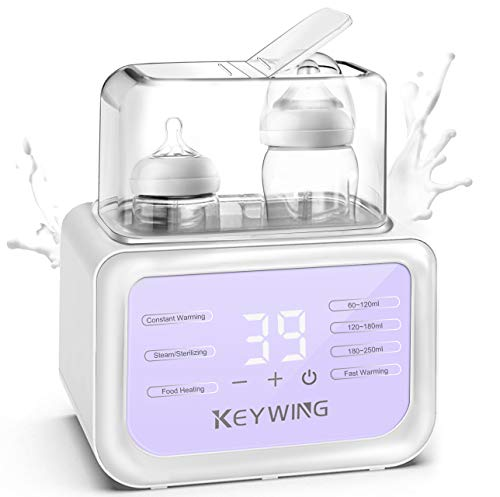 Baby Bottle Warmer Bottle Sterilizer, 6-in-1 Baby Milk Warmer 2 Bottle Warmer for Breast-Milk with LCD Timer and Temperature Display, Fast Heating All Baby Bottles, BPA Free