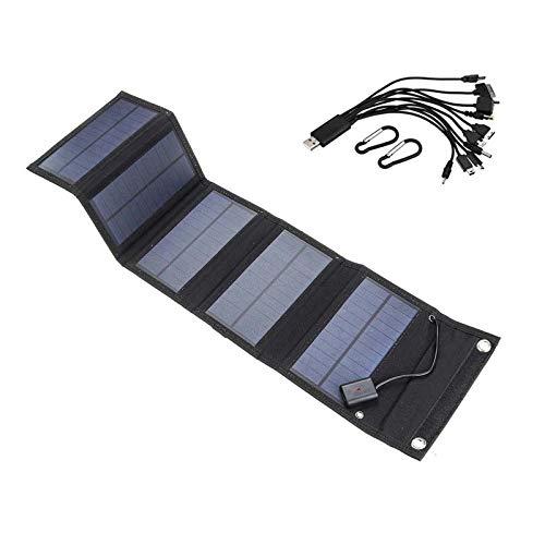 Wgwioo Cargador De Teléfono con Panel Solar Plegable Portátil, para Acampar Y Al Aire Libre, para Teléfonos Inteligentes iPhone Y Android, Ipads, Bancos De Energía Y Más