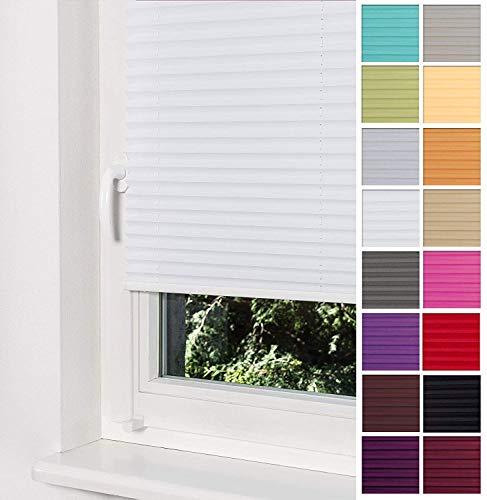 Home-Vision Premium Plissee Faltrollo ohne Bohren mit Klemmträger / -fix (Weiß, B30cm x H120cm) Blickdicht Sonnenschutz Jalousie für Fenster & Tür