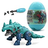 dmsbuy Take Apart Dinosaur Toys for Kids Building Toy Set with Electric Drill Construction Engineering Play Kit STEM Learning for Boys Girls Age 3 4 5 Year Old (Monoclonius (Green Egg))