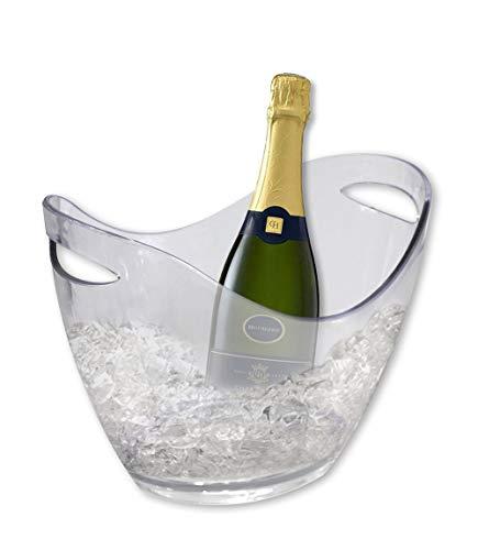 Vetrineinrete® Secchiello portaghiaccio refrigeratore Trasparente per Bottiglie di Champagne Vino Acqua cestello Porta Ghiaccio Ovale in plexiglass con Manici 35x25x26 cm 65854 X3
