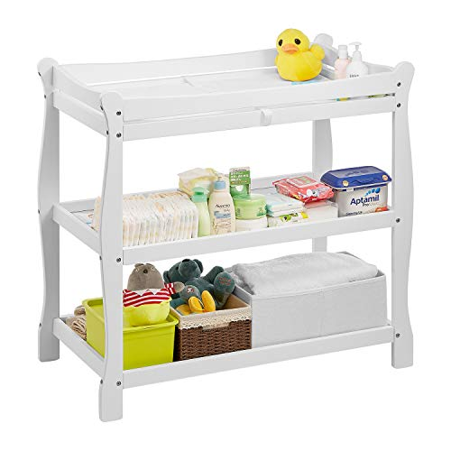 Kealive Baby Changing Table Wood, Infant Diaper Changing Table with 2 Fixed Shelves Storage, Nursery Station with Changing Pad and Safety Belt, White