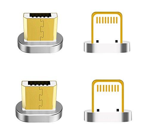 Zrse(ザスイ)【4個セット】第五世代 マグネット式 Microx2 Lightingx2 着脱式 親端子 磁石 防塵機能 Androi...
