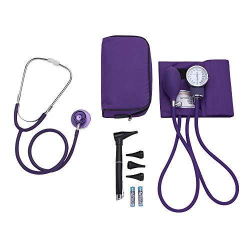 ASA Techmed | Nurse Essentials Starter Kit with Handheld Travel Case | 3 Part Kit Includes Adult Aneroid Sphygmomanometer Blood Pressure Monitor, Stethoscope, Mini Diagnostic Otoscope (Purple)