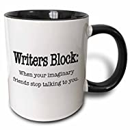 3dRose Writers block when your imaginary friends stop talking to you Mug, 11 oz, Black