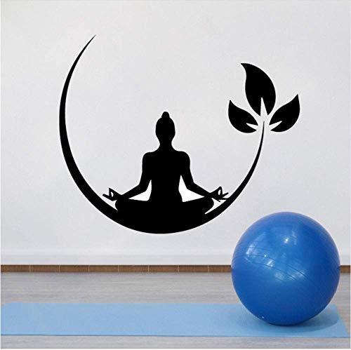 Yoga Meditación Vinilo Adhesivos De Pared Zen Budista Tatuajes De Pared Para Dormitorio Etiqueta De La Pared Removible Decoración Yoga Wallpaper 58X70Cm
