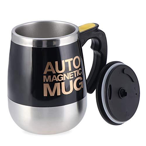 Elektrischer selbstrührender Kaffeebecher, Edelstahl, automatisch, magnetisch, Lebensmittelqualität, selbstmischend, Schwarz