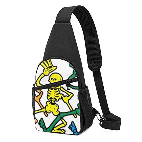 JONINOT Mochila con bandolera con clip de esqueleto bailando, mochila ligera en el pecho, bolsa deportiva, bandolera cruzada