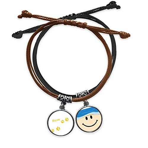 Bestchong Cat Mewing Animal Yellow Footprint Art Paw Print Bracelet Rope Hand Chain Leather Smiling Face Wristband
