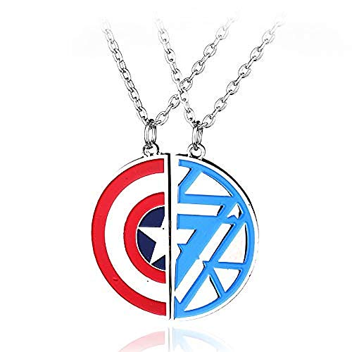 POIUIUYH Co.,ltd Necklace Design Marvel Captain America Civil War Shield Logo Pendant Necklace Two Half Couple Lovers Necklaces