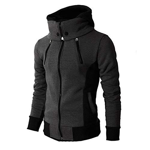 GZA Männer Winterjacke Reißverschluss Mit Kapuze Sweatshirt Männer Mode Frühling Casual Patchwork Fleece Warme Hoodies Sweatshirts Männliche Straßenbekleidungsmantel Jacken (Color : 2, Size : XL)