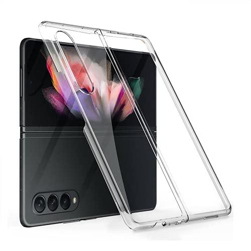 XJZ Kompatibel mit Samsung Galaxy Z Fold 3-5G Smartphone Hülle(2021)+3D Panzerglas/Handyhülle Ultra Dünn 3 in 1 Schutzhülle 360 Grad Stoßfest Hülle Cover Hülle für Samsung Galaxy Z Fold 3-Transparent