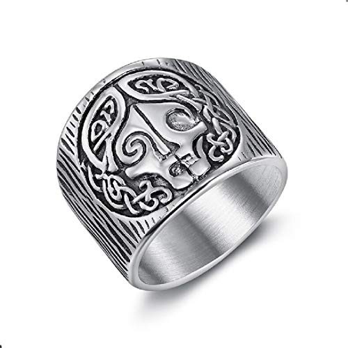 Norse Mythology Goddess Hel Ring Viking Hela Rune Stainless Steel Band Celtics Amulet Pagan Rings Jewelry for Men Women Gift (7)