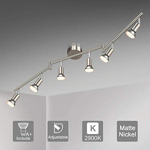 Unicozin LED Deckenleuchte, 6 Flammig LED Deckenstrahler Schwenkbar, Inkl. 6 x 3.5W GU10 LED Lampen, 380LM, Warmweiß, LED Deckenspot LED Deckenlampe, Matte Nickel