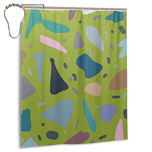 Juego de cortina de ducha con gancho, diseño abstracto italiano chic musgo verde con gancho, para mujer africana, negra, impermeable, cortina de ducha de tela de granja, 167,6 x 183 cm