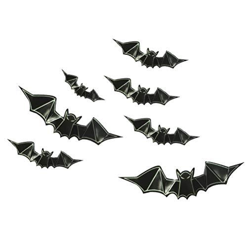 HEALIFTY 8 Stücke 3D PVC Fledermaus Wandtattoos Glow in The Dark Bat Leuchtende Tapete Fenster Aufkleber für Halloween Party Dekoration