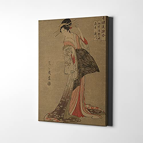 Lienzo japonés Ukiyo-e para pared con impresión geisha, póster vintage, para sala de estar, dormitorio, decoración del hogar (B, 50,8 x 76,2 cm, sin marco)