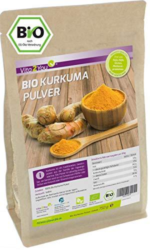 Vita2You Poudre de curcuma BIO 750g - 100% qualité alimentaire crue dans un sac à fermeture éclair - Curcuma moulu à la curcumine - Qualité premium
