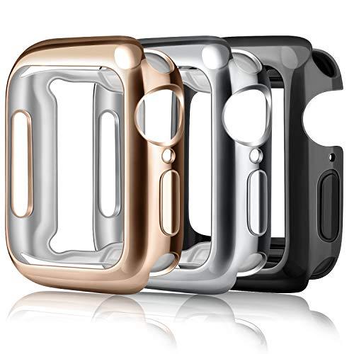 Amzpas Pack de 3 fundas para Apple Watch, protector de pantalla de iWatch, ultra transparente, suave TPU, adecuadas para Apple Watch Serie SE/6/5/4/3/2/1 (para Series 3/2 38 mm, negro/oro rosa/plata)
