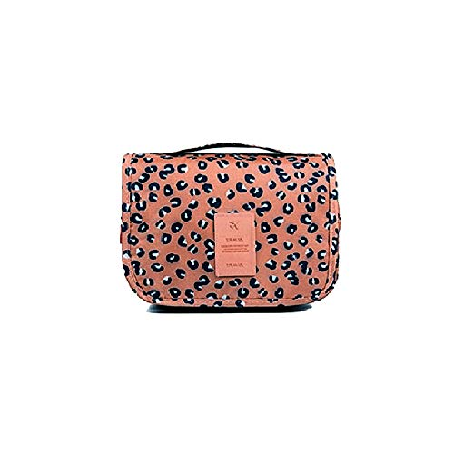 Hemuu Bolsa de Aseo Neceseres de Viaje Travel Bolso cosmético Bolso de Maquillaje Bolsa de Almacenamiento portátil Estuche de Maquillaje con asa Makeup Toiletry Bag para Mujeres (Leopard Brown)